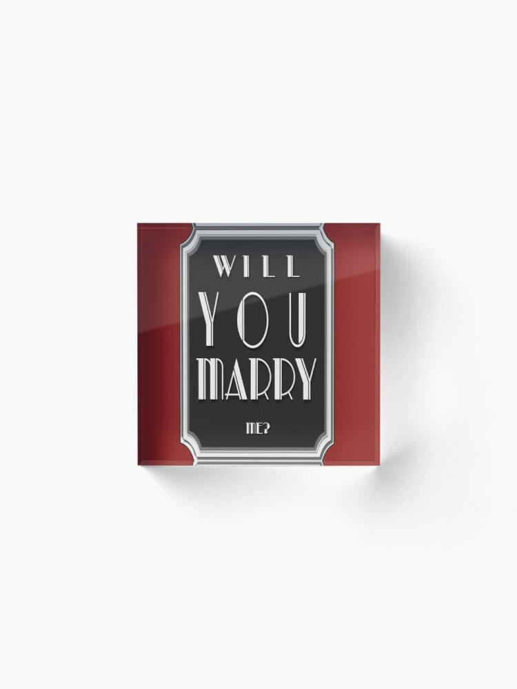 Alternate view of Will You MARRY me? art deco style Acrylic Block