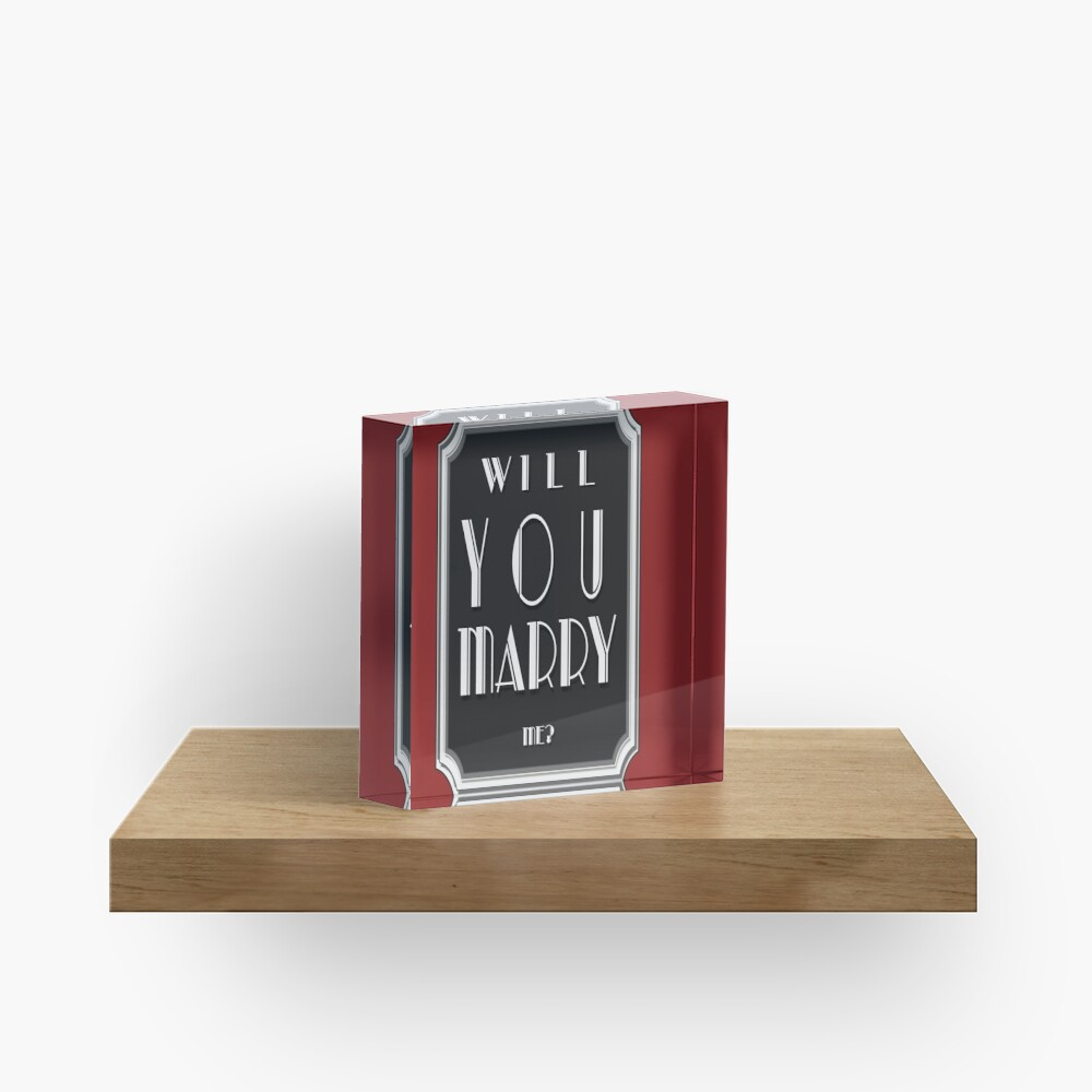 Will You MARRY me? art deco style Acrylic Block