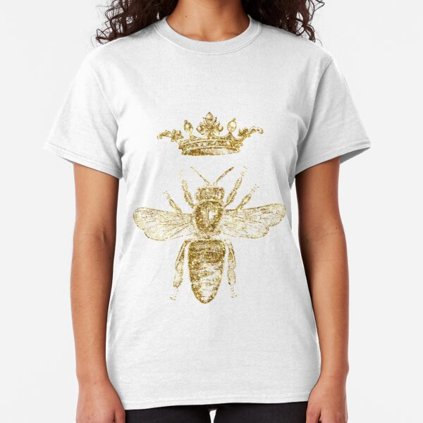 Royal King or Queen Bee Design Hand Drawn Vintage Look Artwork Gold  Classic T-Shirt