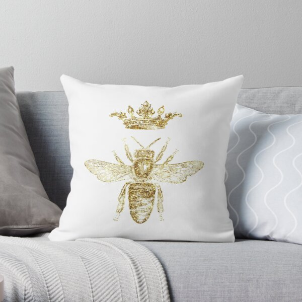 Royal King or Queen Bee Design Hand Drawn Vintage Look Artwork Gold  Throw Pillow
