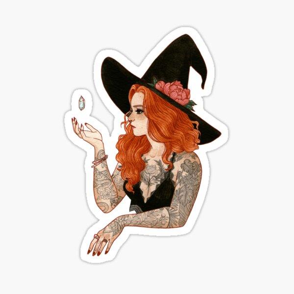 Red tattooed witch Sticker