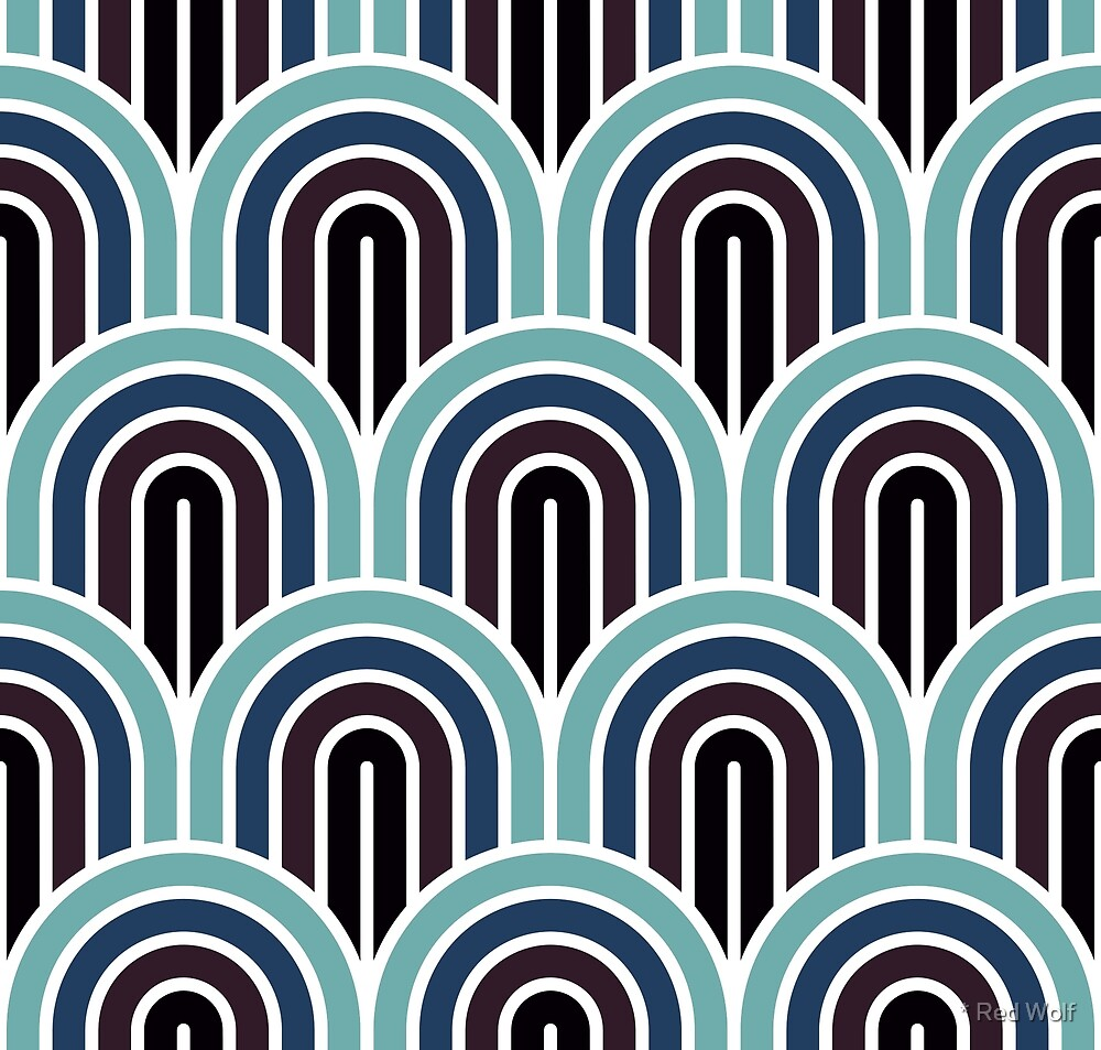 Geometric Pattern: Art Deco Arch: Midnight by * Red Wolf