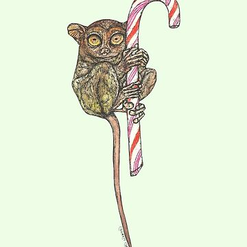 Tarsier on a Candy Cane by SerenSketches