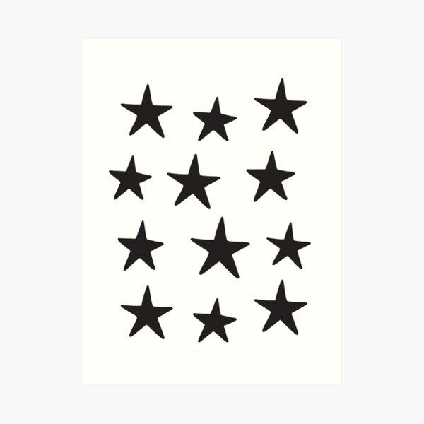 Star Pattern Black On White  Art Print