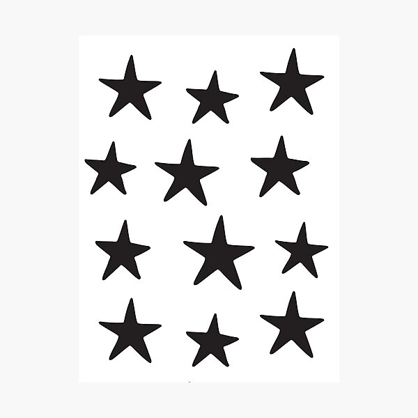 Star Pattern Black On White  Photographic Print