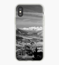 Innsbruck In Winter From Patscherkofel Mountain black white iPhone Case