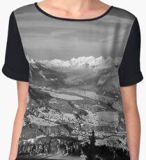 Innsbruck In Winter From Patscherkofel Mountain black white Chiffon Top