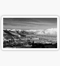 Innsbruck In Winter From Patscherkofel Mountain black white Sticker