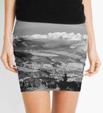 Innsbruck In Winter From Patscherkofel Mountain black white Mini Skirt