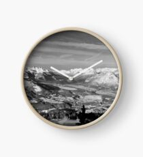 Innsbruck In Winter From Patscherkofel Mountain black white Clock