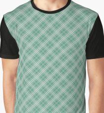 Christmas Green Holly and Ivy Diagonal Tartan Check Plaid Graphic T-Shirt