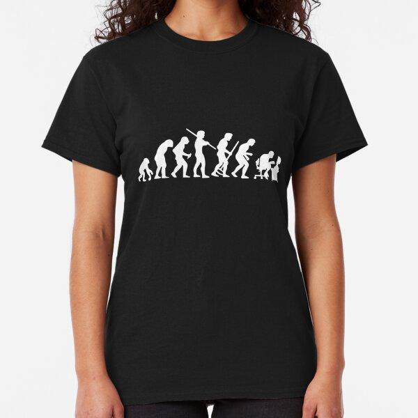 Evolution Geek Programmer Top Nerd T-Shirt Funny Ape to Man PC Gamer