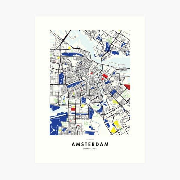 Amsterdam (Netherlands) Map x Piet Mondrian Art Print