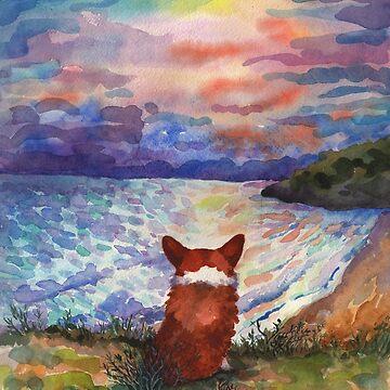 Corgi - sunset adorer by AgniArt