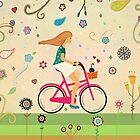 Bicycle Ride - Girl - Cat by Cristina Bianco Design