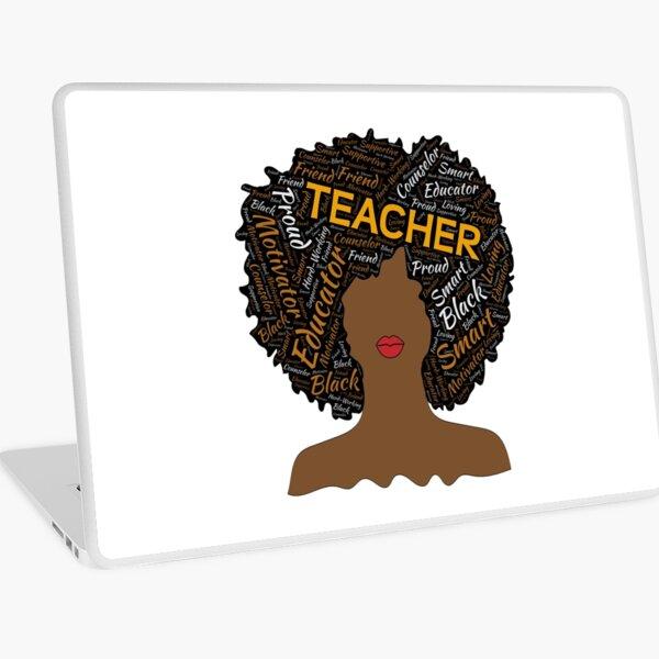 Artistic Teacher Afro for African American Women Laptop Skin