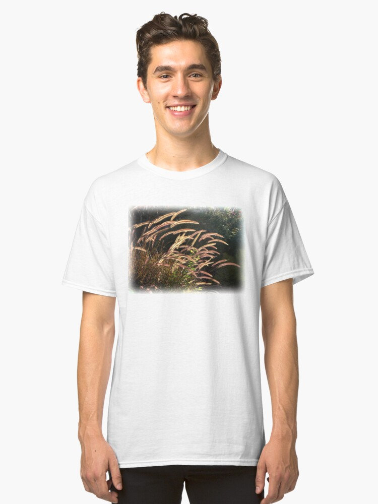 Alternate view of Sunset on the grass from A Gardener's Notebook Classic T-Shirt