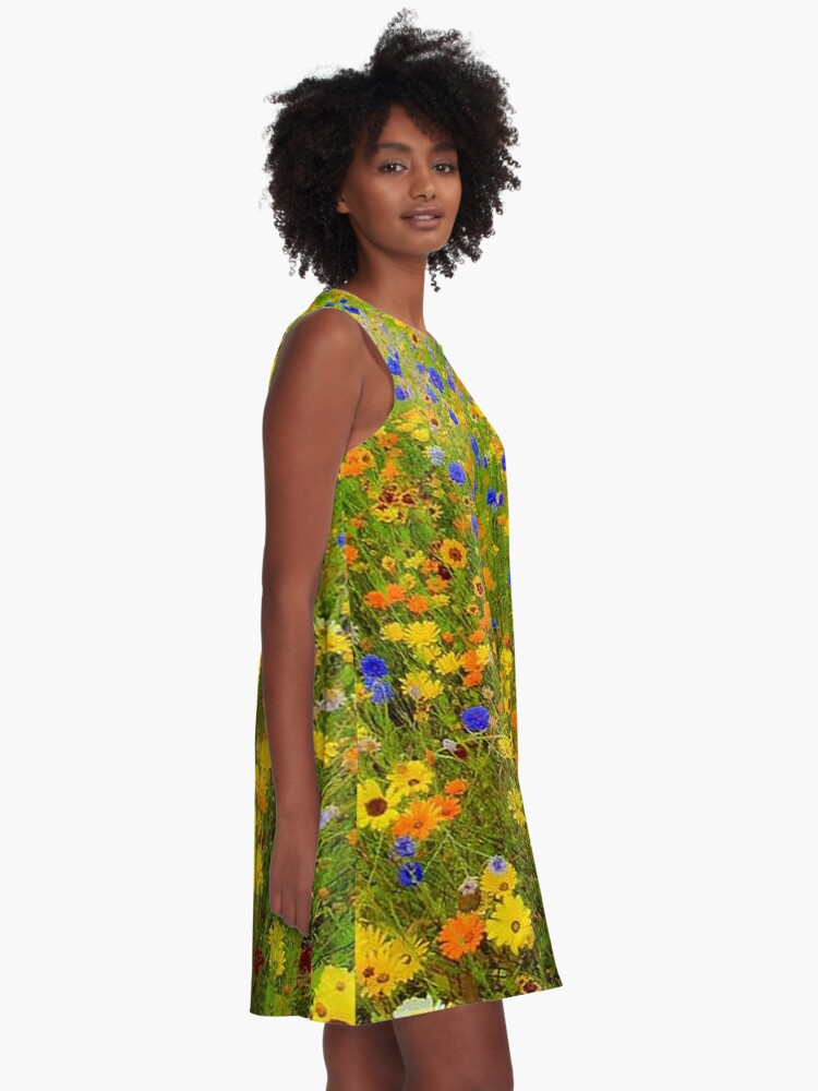Alternate view of Field of Yellow and Blue Flowers A-Line Dress