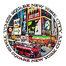 Times Square New York City Badge Emblem (on white) by Ray Warren