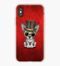 Steampunk Baby Wolf Cub on Red iPhone Case