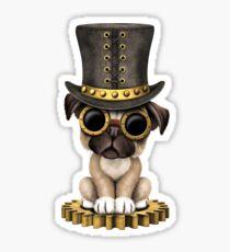 Cute Steampunk Pug Puppy Dog Sticker