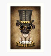 Cute Steampunk Pug Puppy Dog Art Print