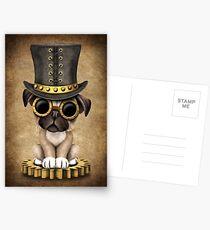 Cute Steampunk Pug Puppy Dog Postcards