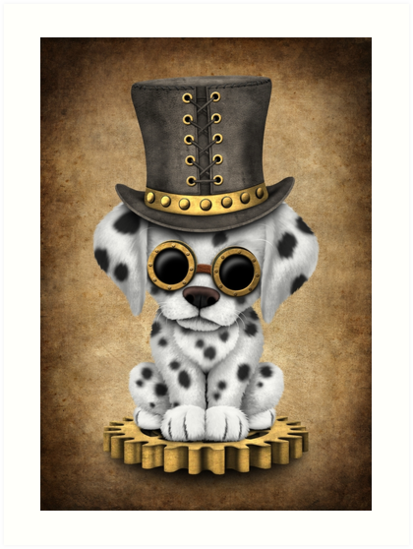 Cute Steampunk Dalmatian Puppy Dog by jeff bartels