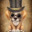 Niedlicher Steampunk goldener Retriever-Welpen-Hund von jeff bartels