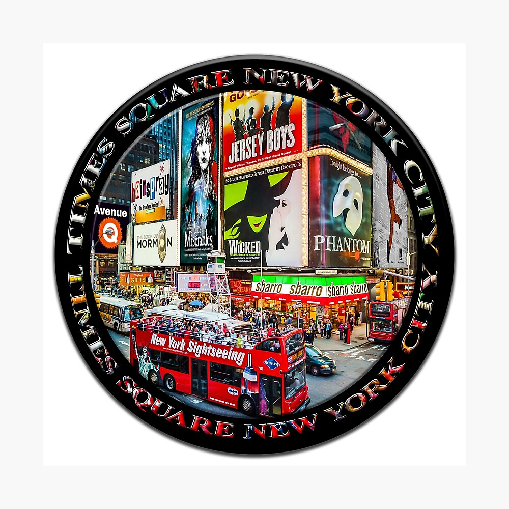 Times Square New York City Badge Emblem (on black circle) Photographic Print