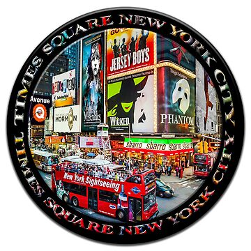 Times Square New York City Badge Emblem (on black circle) by RayW
