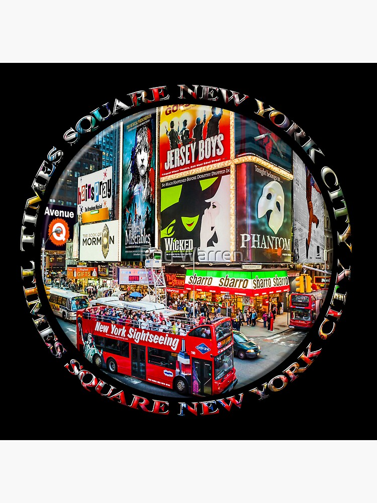 Times Square New York City Badge Emblem (on black) by RayW