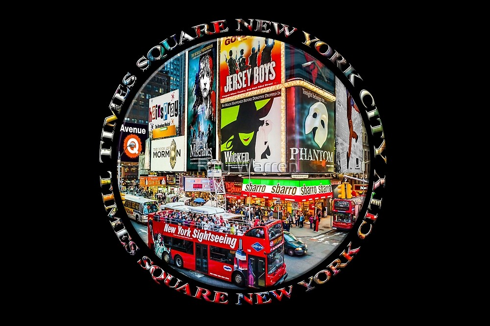 Times Square New York City Badge Emblem (on black) by Ray Warren