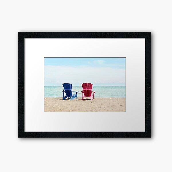 AFE Beach Chairs, Beach Photography Framed Art Print