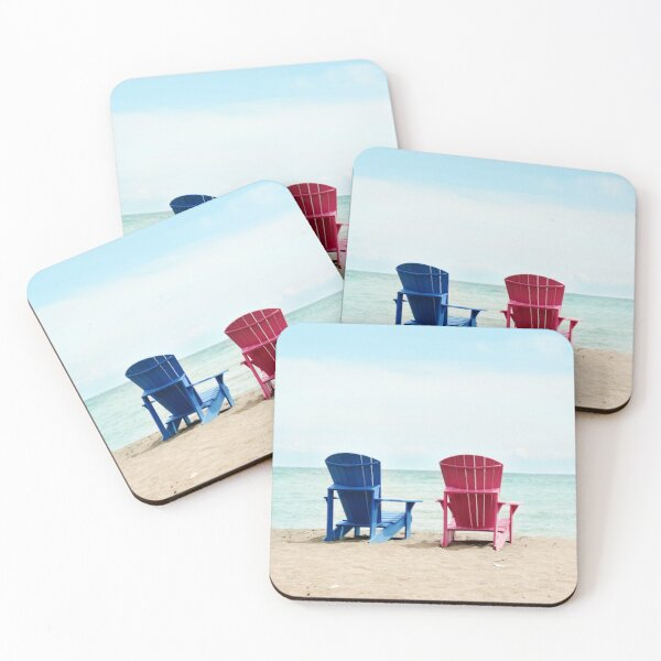 AFE Beach Chairs, Beach Photography Coasters (Set of 4)