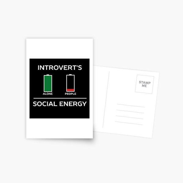 Energy Is Low Funny Introvert Humour  Postcard