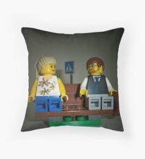 Bus Stop Romance Throw Pillow