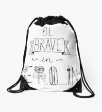 Be brave in Berlin Drawstring Bag