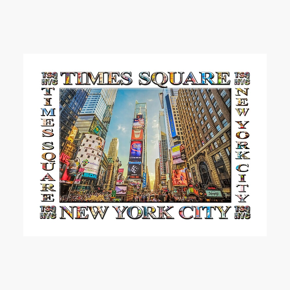 Times Square Hustle (white poster edition) Photographic Print