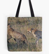 Cheetah Males Playing Tote Bag