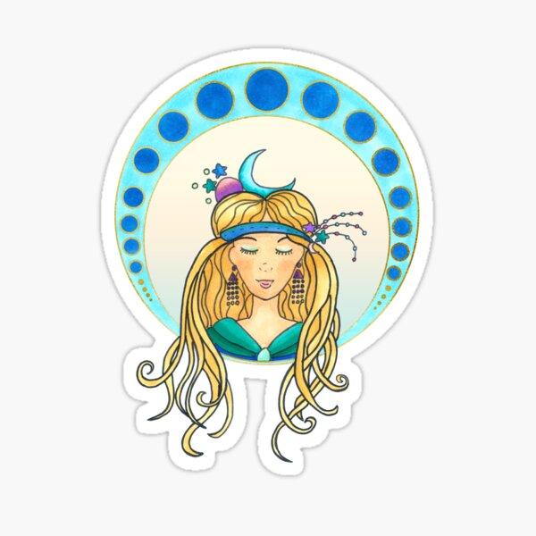 Moon lady - Art Nouveau Style Sticker