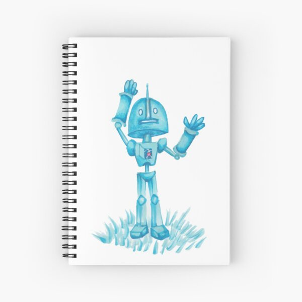 Robot in Blue Spiral Notebook