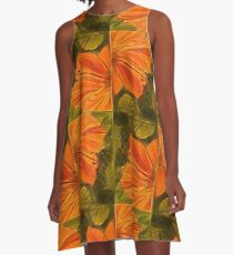 Hibiscus Series - Orange and Green A-Line Dress