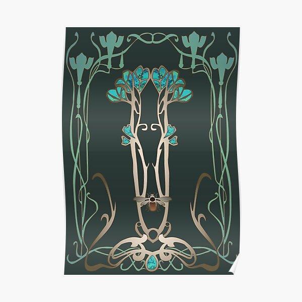 Art Nouveau Garden with Bee Poster