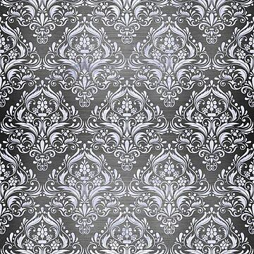 DAMASK1 WHITE MARBLE & GRAY BRUSHED METAL by johnhunternance