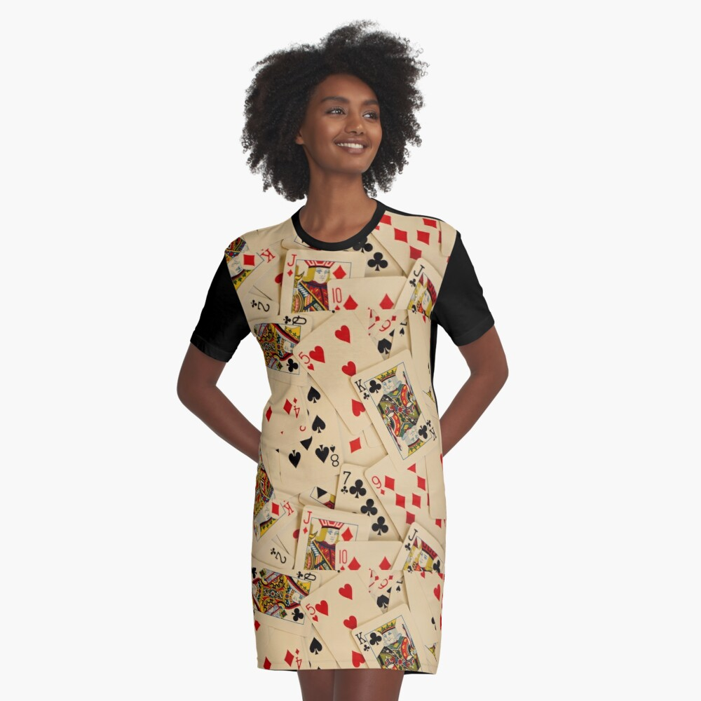 Scattered Pack of Playing Cards Hearts Clubs Diamonds Spades Pattern Graphic T-Shirt Dress