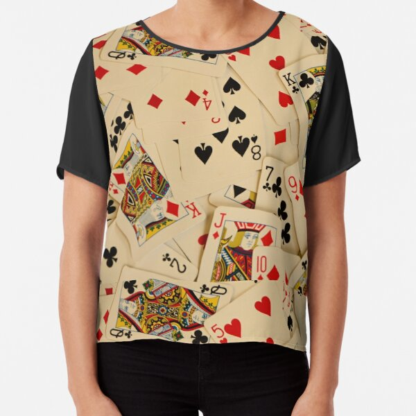Scattered Pack of Playing Cards Hearts Clubs Diamonds Spades Pattern Chiffon Top