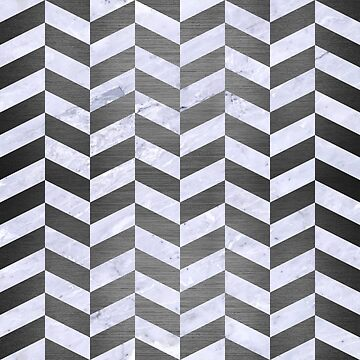 CHEVRON1 WHITE MARBLE & GRAY BRUSHED METAL by johnhunternance