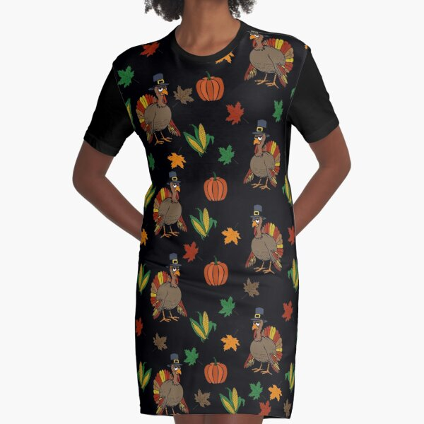 Thanksgiving Turkey pattern Graphic T-Shirt Dress