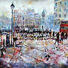 London Cyclists City Street Scene by Ballet Dance-Artist